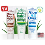 3-piece set of Miracle of Aloe&#39s Miracle Foot Repair, Miracle Rub and Aloe All Over for only $5.00 - shipping included!