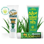 3-piece set of Miracle of Aloe&#39s Sunshield SPF-30 Sunblock, Aloe Relief Green Gel and Aloe SPF-15 Lip Balm for only $5.00 - shipping included!
